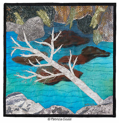 "Clear Mountain Pool, 14"" x 14"" mixed media fiber art wall hanging"