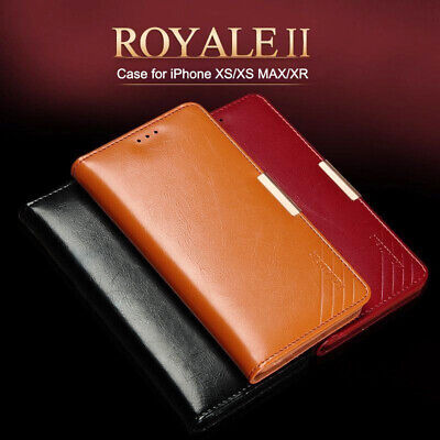 100% Real Leather Magnetic Wallet Flip Card Case Cover For iPhone XS MAX XR 8 7+