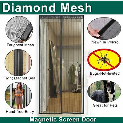Diamond Stripe magnetic screen door curtain,3 Sizes Avaliable IKSTAR(4883-BLACK)