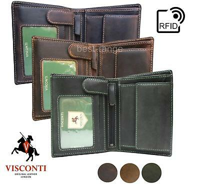 Mens Wallet Visconti Real Leather Trifold Brown or Tan Distressed 709 New in Box
