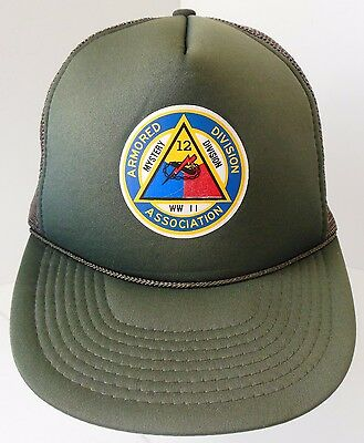 Vintage 12TH ARMORED DIVISION WWII Military Truckers Hat Mesh Snapback Cap Green