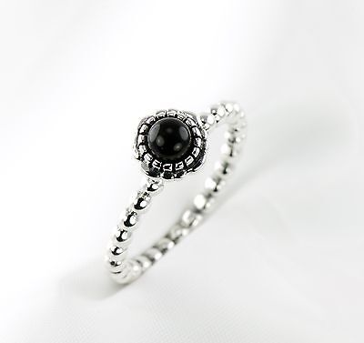 Vintage Style Sterling Silver Stackable Ring with Bubble Band and Black Onyx