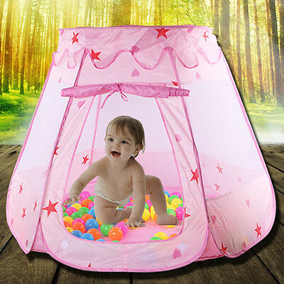 New Portable Pink Folding Play Tent Kids Girl Princess Castle Fairy Cubby House