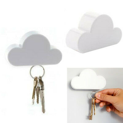 Novelty Key Holder Creative Keychain Cloud-Shaped Holder Magnetic White Cloud