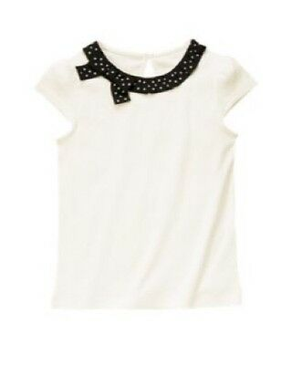 GYMBOREE POSH AND PLAYFUL BLACK w// WHITE POLKA DOTS TUNIC WOVEN TOP 7 NWT