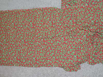 vintage  Silky Rayon Red / Green Floral Print Dress Yardage