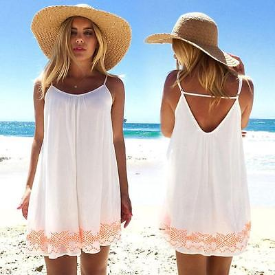 Women Backless Short Summer BOHO Evening Party Sexy Beach Mini Dress Sundress