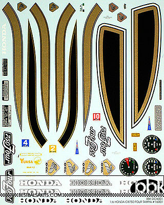 1/6 HONDA CB750 FOUR REPLACEMENT & TRANS DECAL for TAMIYA