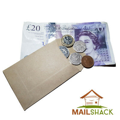 Small Brown Envelopes 98 x 67mm Ideal for Dinner Money Wages Coin Beads & Seeds