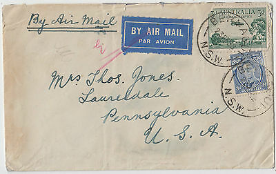 Stamps Australia 3d airmail uprated 3d KGV1 die 1a on flight cover to USA