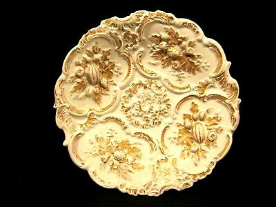 Antique Meissen Leuteritz Rococo Cabinet Display Plate High Relief Gold c 1800's