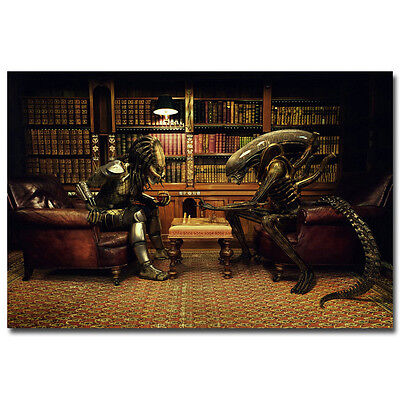 Alien vs Predator Movie Funny Art Silk Poster 12x18 24x36 inches Playing Chess