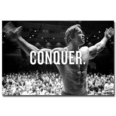 CONQUER - Arnold Schwarzenegger Bodybuilding Motivational Quotes Silk Poster 007