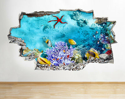 A202 Aquarium Fish Tank Coral Wall Decal Poster 3D Art Stickers Vinyl Room