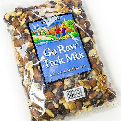 Trader Joe's Go Raw Trek Mix Snack 16oz Raisins Cashews Almonds Walnuts Filberts