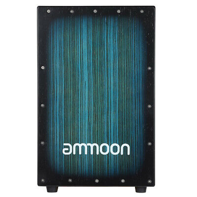 ammoon Wooden Box Drum Cajon Hand Drum Zebra Wood with Stings Rubber Feet Y0X5