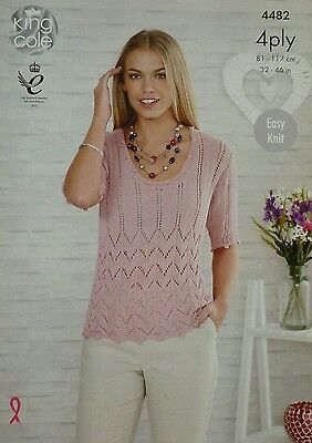 KNITTING PATTERN Ladies Easy Knit Short Sleeve Jumper Bamboo Cotton 4ply 4482