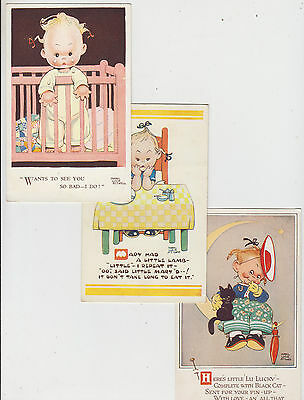 Early comic group of 6 ATWELL postcards of Baby girl in various acts popular