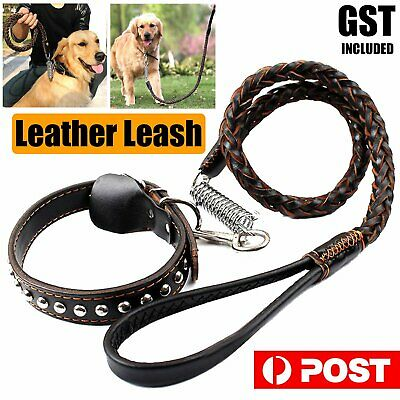 Pet Dog Leash Collar Set Strong Leather Dog Collar Lead 110cm Solid Braided Wove