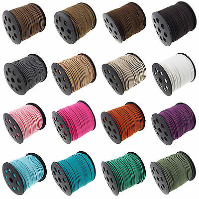 Geniune 3mm Soft Leather Cord Beading Thread Lace Flat For DIY Bracelet Necklace