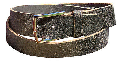 "Men's Real Leather Belt : FULL GRAIN BUFFALO LEATHER, Large Only 36"" - 40"""