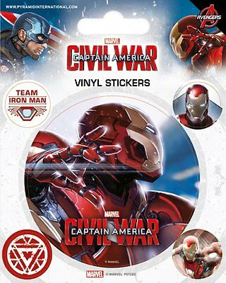 Captain America Civil War Iron Man Vinyl Stickers New 100% Official Merchandise