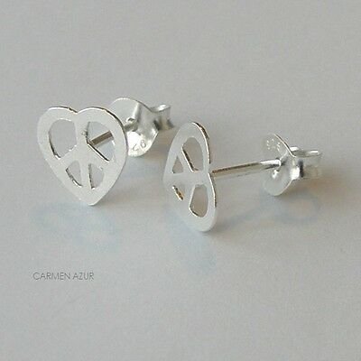 Solid 925 Sterling Silver Stud Earrings PEACE HEART CND New Gift Bag Free UK P&P