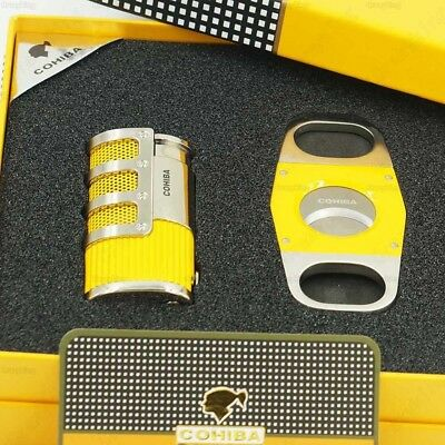COHIBA Yellow 3 Torch Jet Flame Cigar Lighter Punch With Smooth Cutter Gift Set