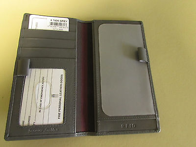 "ILI Leather Grey Checkbook Cover Wallet w/ Pen Loops   ""M"""