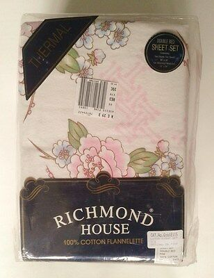 Richmond House Thermal Double Bed Sheet Pillowcase Set Floral Pink Vintage Style