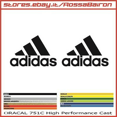 KIT 2 ADESIVI ADIDAS LOGO+SCRITTA mm.60x40 - STICKERS AUFKLEBER PEGATINAS DECALS