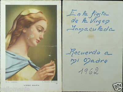 Old Blessed Virgin Immaculate Conception Holy Card Andachtsbild Santini    Cc803