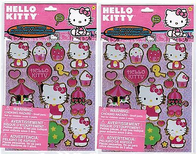 Sanrio Hello Kitty Gold Outline sparkly Stickers 2 PACKS Cupcake Carosel Park