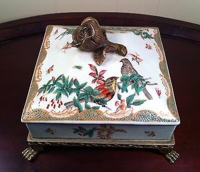 Decorative Oriental Covered Box Porcelain Brass Rose Trim and Feet Floral Birds