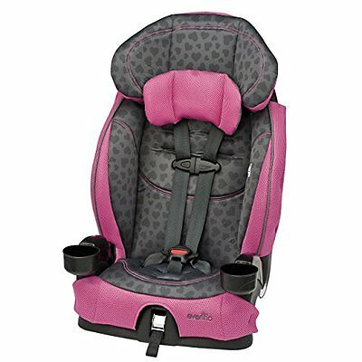 Evenflo Chase LX BOOSTER SEAT, Harnessed Adjustable BABY CAR SEAT, Tonal Hearts