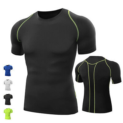 Mens Bodycon Muscle Compression Base Layer Gym Sports Half Sleeve Sports Shirt