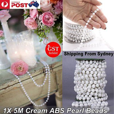 5M 6mm White Pearl Beads String Roll 6mm Garland DIY Wedding Party Trim ABS Deco