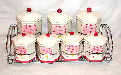 New 7pc Ceramic Pink Floral Canister & Spice Jar Set with Metal Organizer Rack