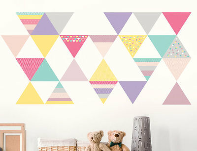 45pc Bright Star Kids Playroom Wall Art Decals / Stickers - Abstract Triangles