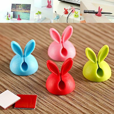 4X Cute Rabbit Cable Drop Clip Desk Tidy Organiser Wire Cord USB Charger Holder