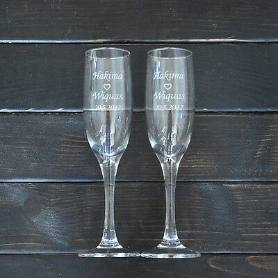 Personalized Toasting Glasses Set of 2 Bride and Groom Champagne Glasses Wedding