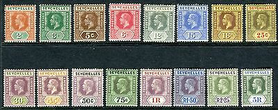 SEYCHELLES-1917-22  A lightly mounted mint set to 5r Sg 82-97