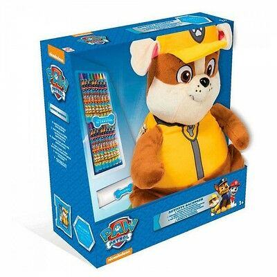 Paw Patrol 'Rubble' Plush With Crayons School Bag Rucksack Backpack Brand New