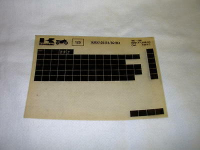 Kawasaki Kmx125 Kmx 125 B1/b2/b3 Gen Part Catalogue Microfiche
