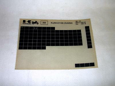 Kawasaki Kl250 Kl 250 D7/d8  (Klr250) Gen Part Catalogue Microfiche