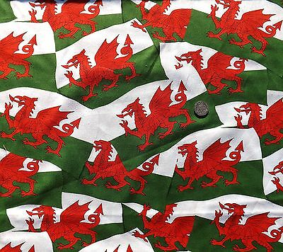 Welsh Flag red Dragon fabric fq 50 x 56 cm Nutex 11310-101 100% Cotton