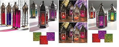 Moroccan Mini Large Tonal Tall Plain Glass Lantern Tea Light Holder Home Garden