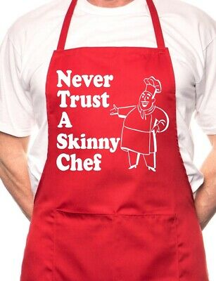 Never Trust Skinny Chef Novelty Cooking Funny Unisex Apron