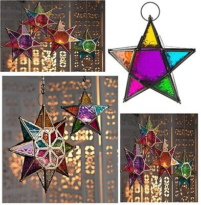 Moroccan Style Star Hanging Glass Lantern Tea Light Holder Coloured Home Garden
