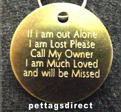 PET ID TAGS Engraved BRASS or SILVER ( 32mm) M/L Dog ID ROUND Disc Design Posted